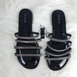 torrid Shoes - New Torrid Slide Sandals Rhinestone Size 9.5 Wide